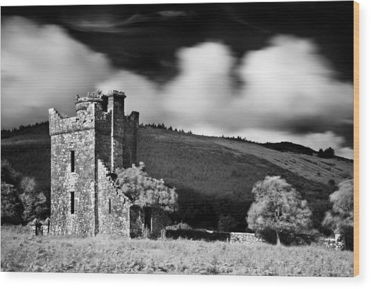 Wood Print featuring the photograph Castle Ruins / Ireland by Barry O Carroll