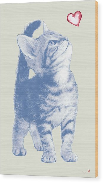 Cat With Love Hart Pop Modern Art Etching Poster Wood Print by Kim Wang