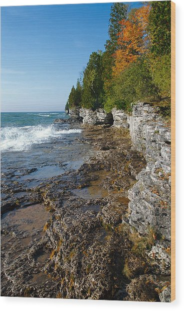 Cave Point County Park Wood Print