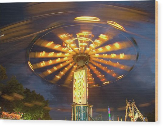 Chair Swing Fairground Ride Wood Print