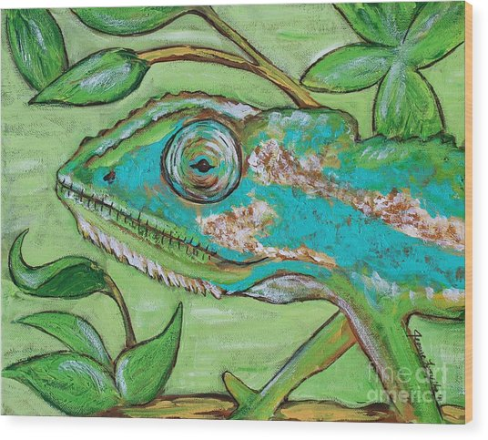 Chameleon Hitching A Ride Wood Print