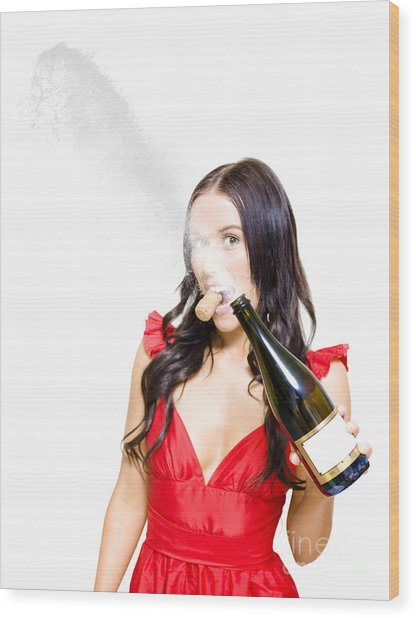 Champagne Celebration With A Splash Of Success  Wood Print