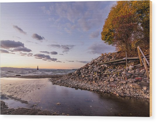 Champlain Twilight Wood Print