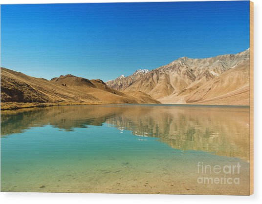 Chandratal Lake Wood Print