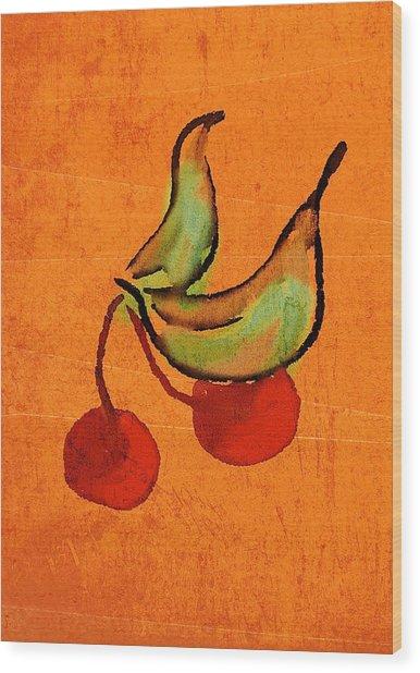 Cherries Wood Print by Brett Shand