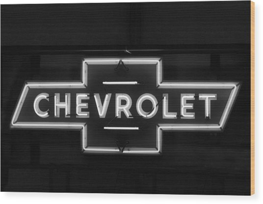 Chevrolet Neon Light Wood Print
