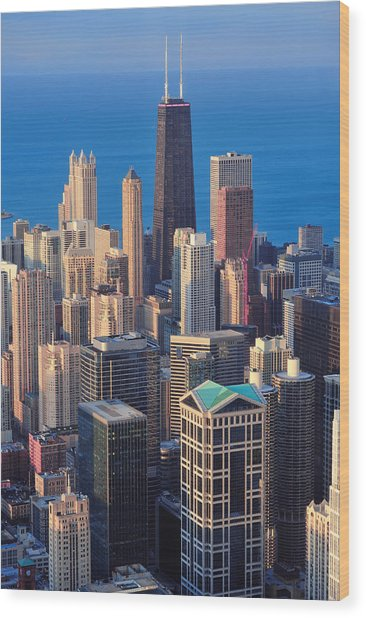 Chicago Aerial View Wood Print