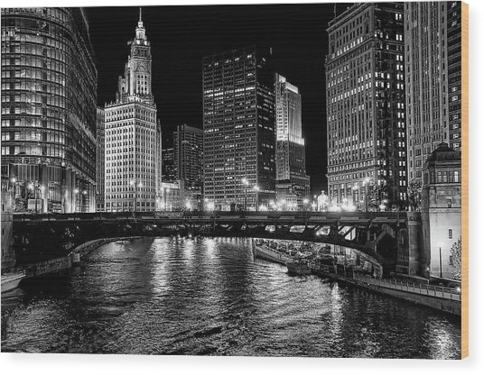 Chicago River Wood Print by Jeff Lewis