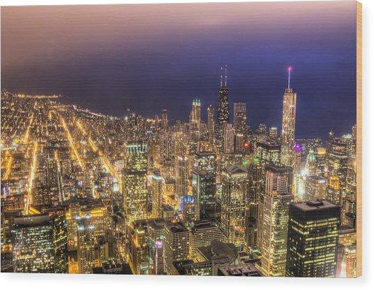 Chicago Skyline At Night - Hancock And Trump Wood Print by Michael  Bennett