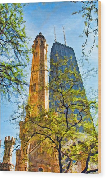 Chicago Water And Hancock Towers Wood Print