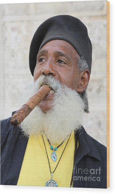Cigar Man Wood Print