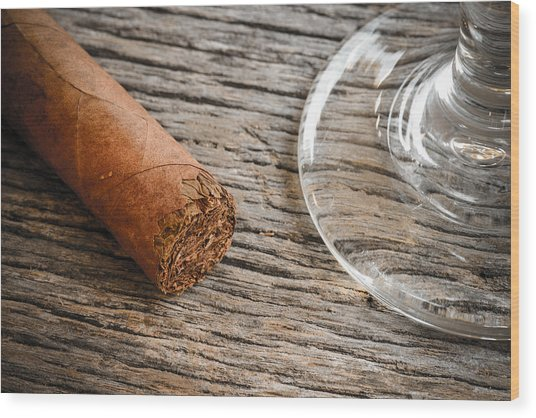 Cigar With Glass Of Brandy Or Whiskey On Wooden Background Wood Print