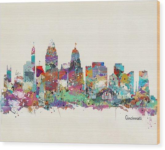 Cincinnati Ohio Skyline Wood Print