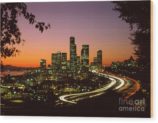 City Of Seattle Skyline Wood Print