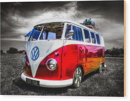 Classic Vw Camper Van Wood Print