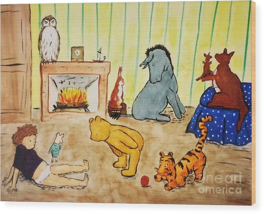 Classic Winnie The Pooh And Friends Wood Print