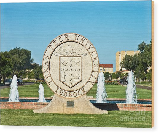 Wood Print featuring the photograph Classical Image Of The Texas Tech University Seal  by Mae Wertz