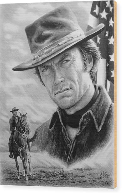 Clint Eastwood American Legend Wood Print