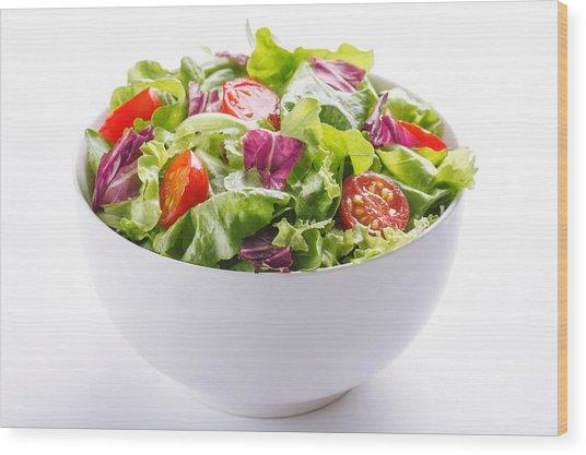 Close-up Of Fresh Salad In Bowl On White Background Wood Print by Vesna Jovanovic / EyeEm