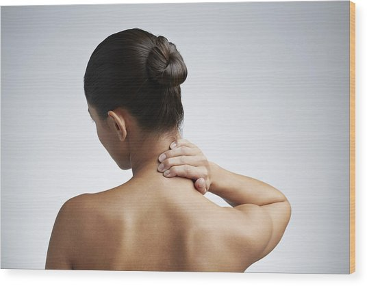 Close Up Of Woman Having Neck Pain Wood Print by Klaus Vedfelt