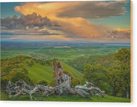 Clouds Over Central Valley At Sunset Wood Print