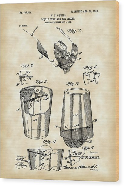 Cocktail Mixer And Strainer Patent 1902 - Vintage Wood Print