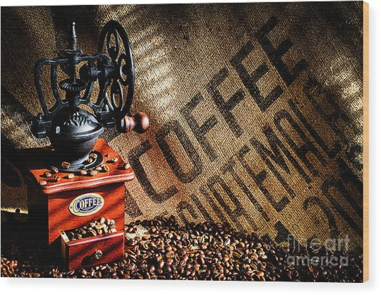 Coffee Beans And Grinder Wood Print