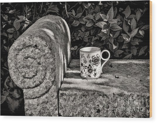 Coffee In Garden Wood Print