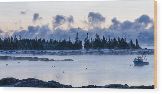 Cold Day Down East Maine Wood Print