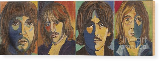 Colorful Beatles Wood Print