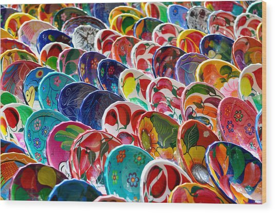 Colorful Mayan Bowls For Sale Wood Print