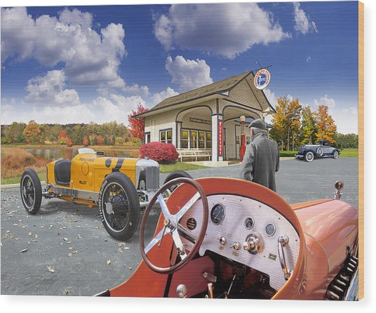 Colors Of Autumn Vintage Standard Oil Station Wood Print