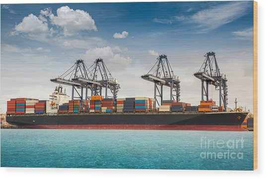 Container Ship Berthing Port Wood Print