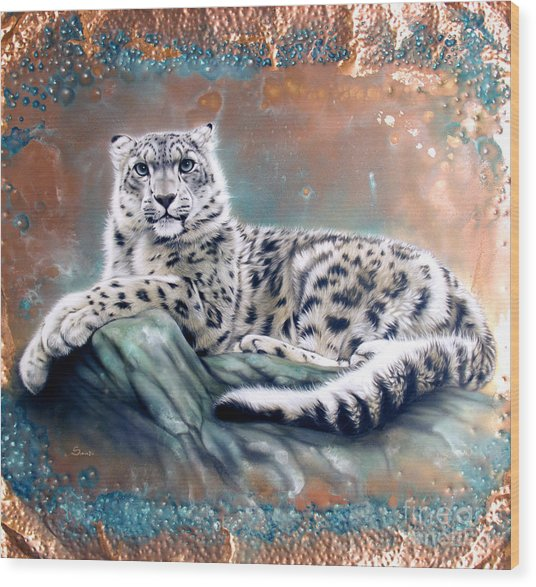 Copper Snow Leopard Wood Print