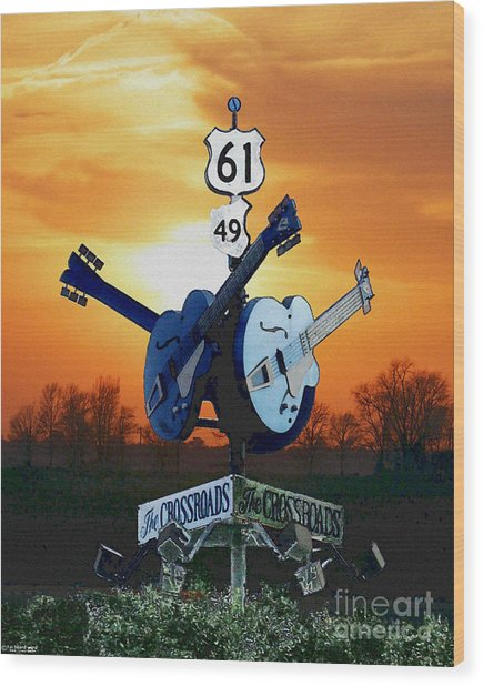 Crossroads Sunset  Blues Highway 61 Wood Print