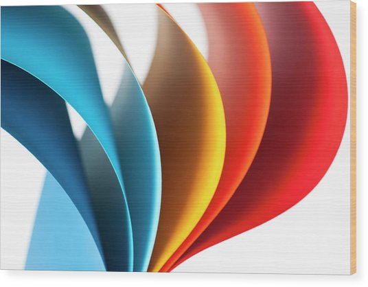 Curves Of Colored Papers On White Wood Print by Colormos