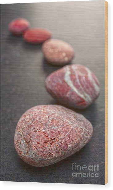 Curving Line Of Red And Grey Pebbles On Dark Background Wood Print