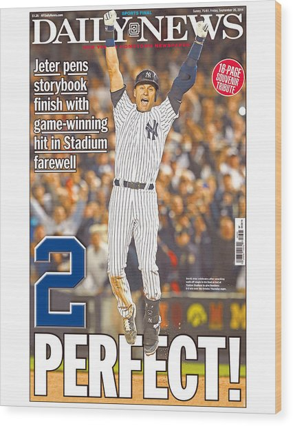 Daily News Front Page Wrap Derek Jeter Wood Print by New York Daily News