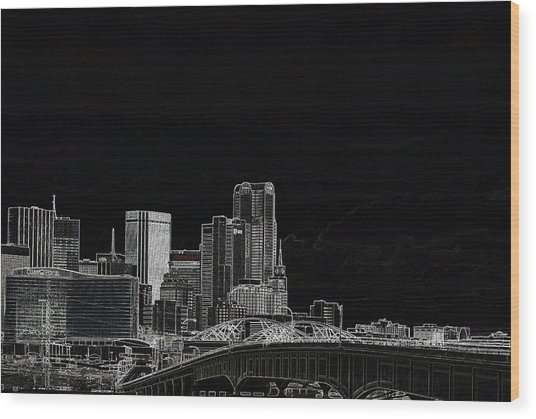 Dallas Skyline In Black - East Wood Print