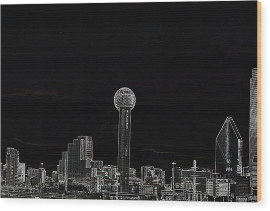 Dallas Skyline In Black- West Wood Print