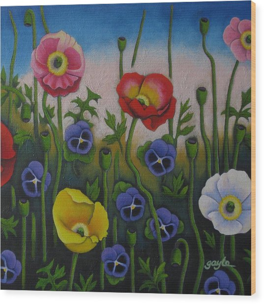 Dancing Poppies Wood Print