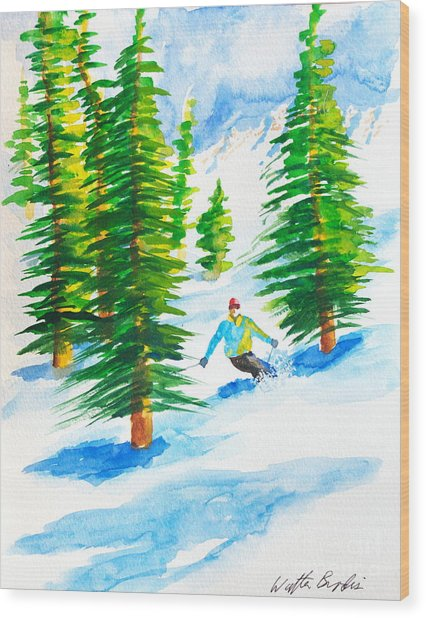 David Skiing The Trees  Wood Print