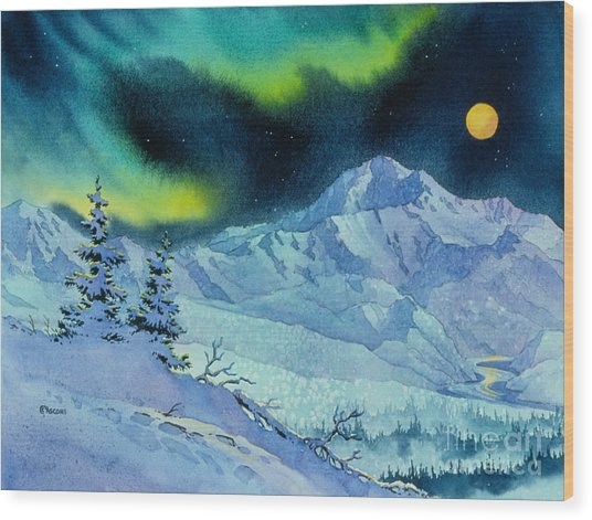 Denali Night Wood Print