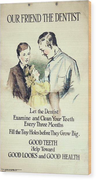 Dental Health Education Poster Wood Print by British Dental Association Museum/science Photo Library