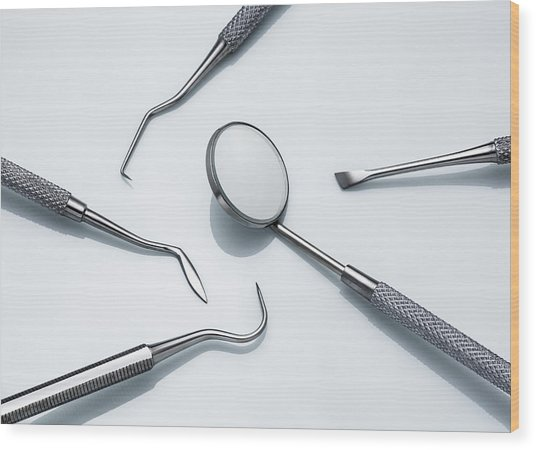 Dental Instruments Wood Print by Jorg Greuel