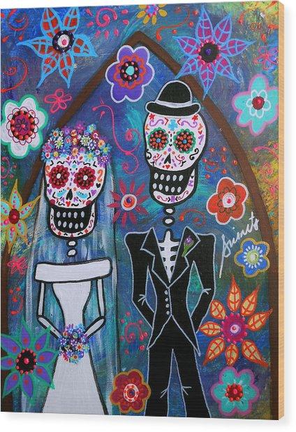 Dia De Los Muertos Wedding Wood Print