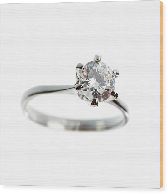 Diamond Ring Wood Print by Science Photo Library