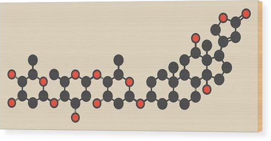 Digoxin Heart Failure Drug Molecule Wood Print by Molekuul