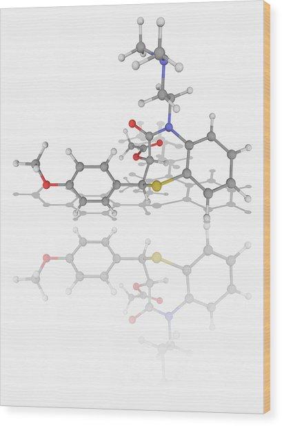 Diltiazem Drug Molecule Wood Print by Laguna Design/science Photo Library