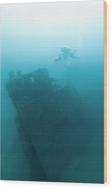 Diver At 'northern Light' Shipwreck Wood Print by Noaa
